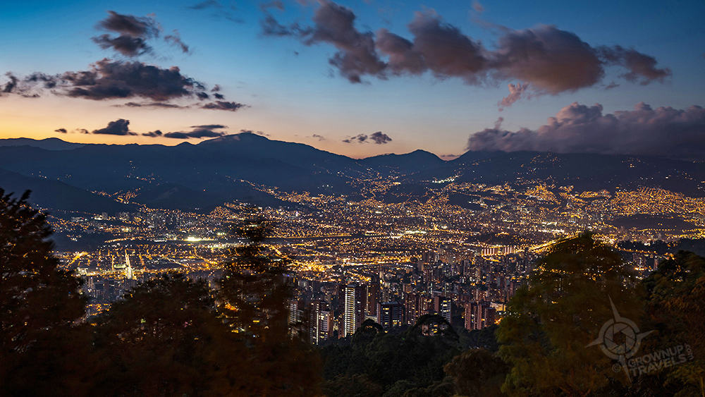 Medellin night time panorama